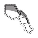 la flecha abajo disminuye Imagen de archivo libre de regalías