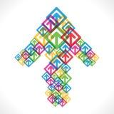 La flecha colorida levanta diseño del icono Imagenes de archivo
