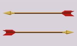 La flecha con una extremidad del oro Imágenes de archivo libres de regalías