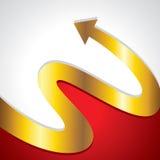 La flecha de oro va cara superior Imagen de archivo libre de regalías