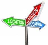 La flecha de Thre de la ubicación firma la propiedad del área de prioridad Imagen de archivo libre de regalías