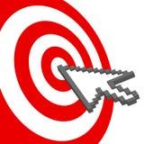 La flecha del cursor señala para seleccionar la diana roja de la blanco libre illustration