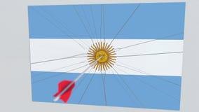 La flecha del tiro al arco golpea la bandera de la placa de la ARGENTINA Animación conceptual 3D stock de ilustración