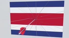 La flecha del tiro al arco golpea la bandera de la placa de COSTA RICA Animación conceptual 3D ilustración del vector