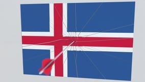 La flecha del tiro al arco golpea la bandera de la placa de ISLANDIA Animación relacionada 3D de la violación de la seguridad nac libre illustration