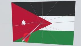 La flecha del tiro al arco golpea la bandera de la placa de JORDANIA Animación conceptual 3D libre illustration