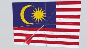 La flecha del tiro al arco golpea la bandera de la placa de Malasia Animación conceptual 3D libre illustration