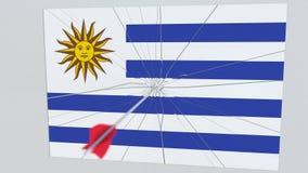 La flecha del tiro al arco golpea la bandera de la placa de URUGUAY Animación relacionada 3D de la violación de la seguridad naci ilustración del vector