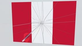 La flecha del tiro al arco golpea la blanco que ofrece la bandera de PERÚ La infracción de Seguridad del Estado relacionó la anim stock de ilustración