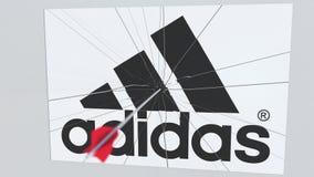 La flecha del tiro al arco golpea la placa con el logotipo de ADIDAS Animación editorial conceptual de los problemas corporativos ilustración del vector