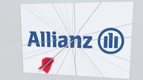 La flecha del tiro al arco golpea la placa con el logotipo de ALLIANZ Animación editorial conceptual de los problemas corporativo ilustración del vector