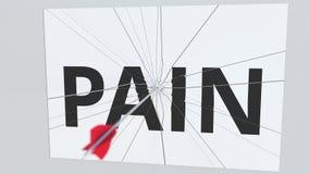 La flecha del tiro al arco golpea la placa de cristal con el texto del DOLOR Animación conceptual 3D libre illustration