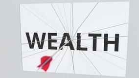 La flecha del tiro al arco golpea la placa de cristal con el texto de la RIQUEZA Animación conceptual 3D stock de ilustración