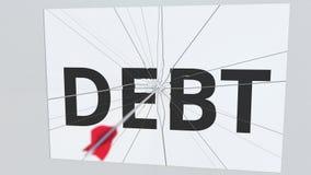 La flecha del tiro al arco rompe la placa con el texto de la DEUDA, animación conceptual 3D ilustración del vector
