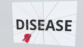 La flecha del tiro al arco rompe la placa con el texto de la ENFERMEDAD, animación conceptual 3D stock de ilustración