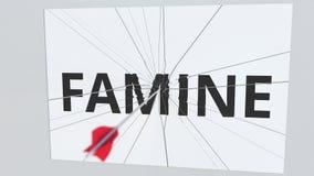 La flecha del tiro al arco rompe la placa con el texto del HAMBRE, animación conceptual 3D stock de ilustración