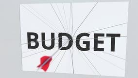 La flecha del tiro al arco rompe la placa con el texto del PRESUPUESTO, animación conceptual 3D libre illustration