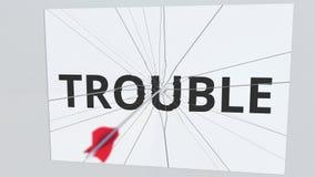 La flecha del tiro al arco rompe la placa con el texto del PROBLEMA, animación conceptual 3D libre illustration
