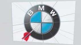 La flecha del tiro al arco rompe la placa de cristal con el logotipo de la compañía de BMW Animación editorial conceptual del pro libre illustration