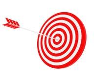 La flecha golpeó la blanco Foto de archivo libre de regalías