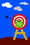 La flecha golpeó una blanco (Rp), ejemplo para el golpe la blanco Foto de archivo