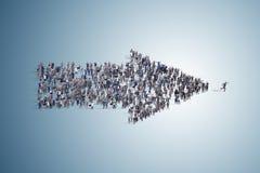 La flecha hecha de diversos hombres de negocios Imagen de archivo libre de regalías