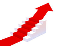 la flecha roja 3d señala encima de las escaleras Imágenes de archivo libres de regalías