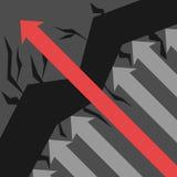La flecha roja evita obstáculos ilustración del vector