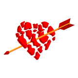 La flecha rompe el corazón a los pedazos libre illustration