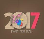 La fleur chinoise créative et la lanterne de la nouvelle année 2017 conçoivent illustration de vecteur
