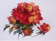 La fleur colorée de fond d'art d'aquarelle s'est levée Images stock