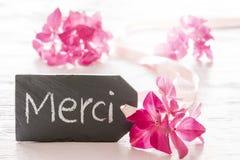 La fleur d'hortensia, moyens de Merci vous remercient photographie stock