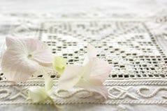 La fleur d'hortensia sur une table antique vêtent Image stock