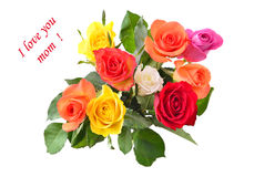 la fleur de jour donne à des mères le fils de momie à Bouquet des roses Images libres de droits