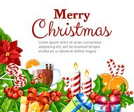 La fleur et le gui rouges de poinsettia de décoration de Noël avec le canela orange de tranche de pain d'épice de feuilles de ver Photo stock