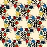 La fleur sur le léopard de peau d'animal imprime le vecteur sans couture de modèle, la conception pour la mode, le tissu, le papi illustration stock