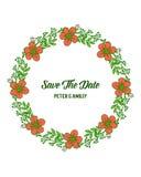 La flor anaranjada del ejemplo del vector enmarca las floraciones para casarse la invitación salvo las tarjetas de fecha ilustración del vector