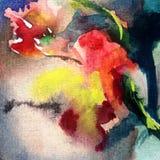 La flor colorida del fondo del arte de la acuarela subió Fotos de archivo