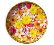 La flor colorida en agua rueda adornando en el fondo blanco por el festival de Songkran o el Año Nuevo tailandés Fotografía de archivo