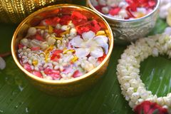 La flor colorida en agua rueda adornando en la hoja del plátano por el festival de Songkran o el Año Nuevo tailandés Imagen de archivo libre de regalías