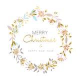 La flor de la Feliz Navidad y del oro del Año Nuevo enrruella Foto de archivo libre de regalías