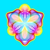 La flor de neón fantástica, forma abstracta con las porciones de mezcla alinea Imagen de archivo libre de regalías