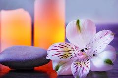La flor del alstroemeria miente en las piedras para el masaje al lado de las velas encendidas Foto de archivo libre de regalías