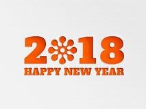 La flor del fondo de la bandera del papel pintado de la Feliz Año Nuevo 2018 con el papel cortó efecto en color del oranage Imagen de archivo