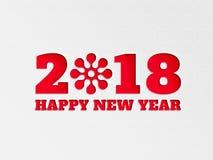 La flor del fondo de la bandera del papel pintado de la Feliz Año Nuevo 2018 con el papel cortó efecto en color rojo Fotografía de archivo