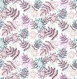 La flor floral púrpura hojea modelo inconsútil del vector Imagen de archivo libre de regalías
