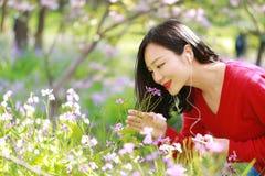 La flor hermosa del olor de la mujer de la naturaleza china asiática linda feliz y escucha la música en un parque de la primavera Imagen de archivo libre de regalías