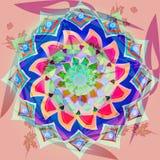 La flor india de la mandala del vintage en colores en colores pastel, el fondo abstracto en rosa suave y los centros de Borgoña f stock de ilustración