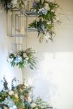 La flor interior adorna diseño en estantes modernos Fotografía de archivo