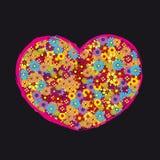 La flor retra del corazón florece negro del amor Foto de archivo libre de regalías